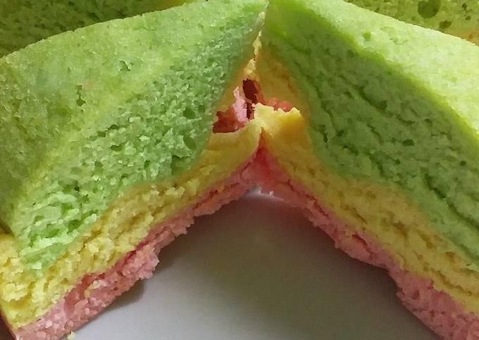 Resep: ♡3. Bolu Kukus Pelangi Anti Ribet (no sp, bp, soda kue, ovalet)