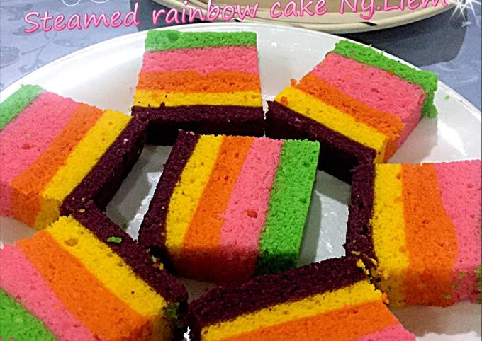 Resep: Steamed rainbow cake Ny.Liem