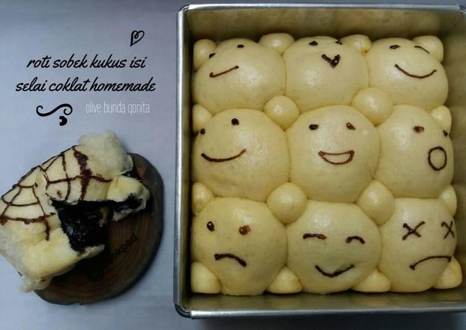 Resep: Roti sobek kukus karakter isi selai coklat homemade