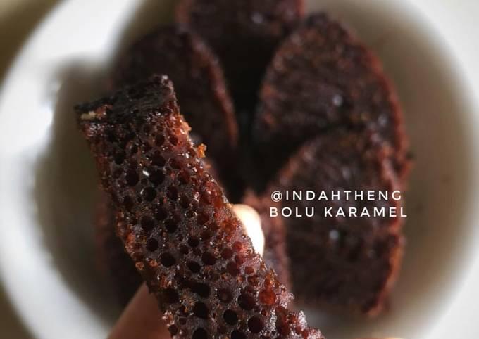 Resep: Bolu karamel / bolu sarang semut