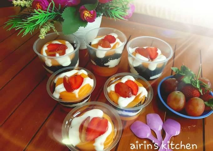 Resep: Pudding susu mangga with oreo creamcheese