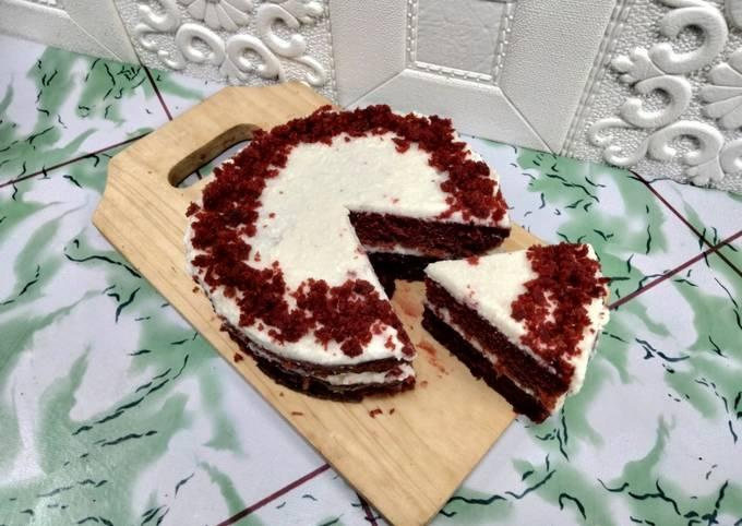 Resep Red velvet cake tanpa telur tanpa mixer