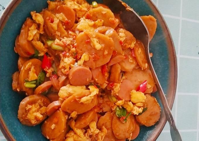 Resep: Nasi gila (oseng pedas bakso, sosis, telur, jamur, sayur)