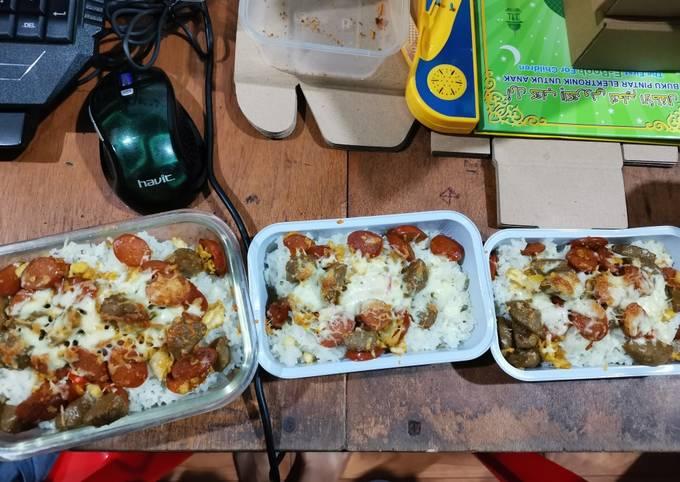 Resep Nasi gila panggang mozarella