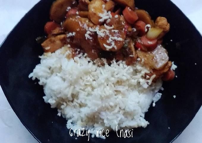 Resep Crazy rice (nasi gila ala saya) 🍚🍗🥖