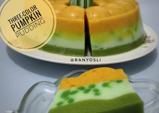 Resep: 11. Three-color pumpkin pudding / puding labu kuning 3 warna