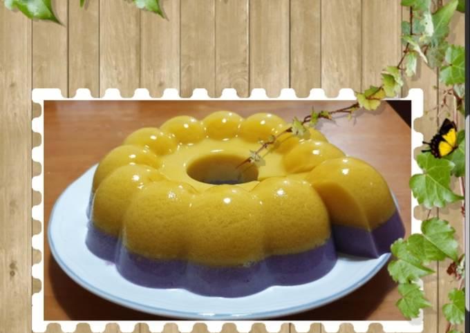 Resep: Puding lapis labu kuning + ubi ungu