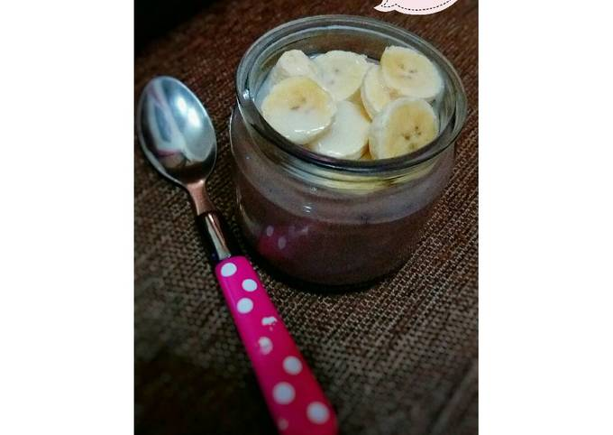 Resep Pudding sutra coklat topping buah (simple banget)