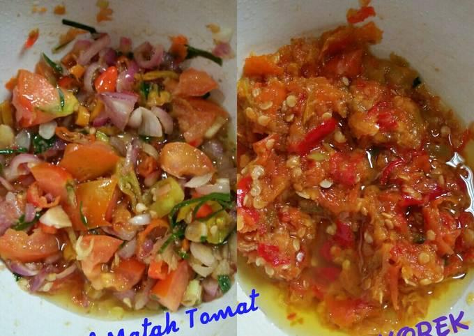 Resep: Sambal korek dan Sambal matah tomat