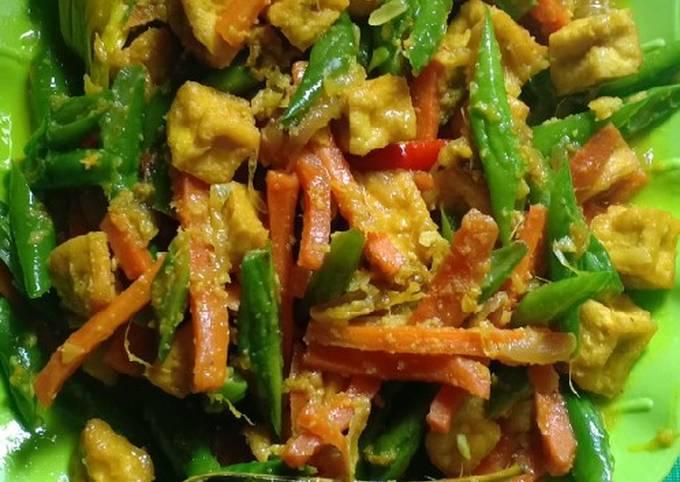 Resep Tumis buncis + wortel + tahu (bumbu kuning)