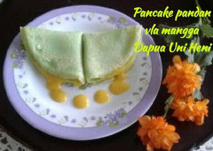 Resep Pancake pandan vla mangga