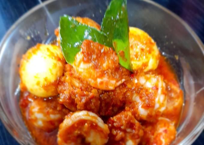 Resep Balado udang telur terasi