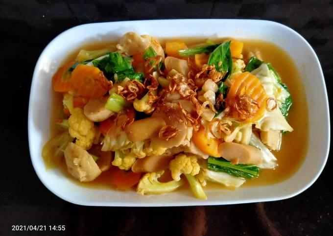 Resep: Capcay sayur bakso sosis