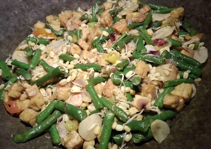 Resep: Tumis kacang panjang,tempe daan toge