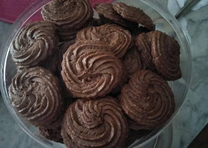 Resep Semprit cookies coklat putih telur
