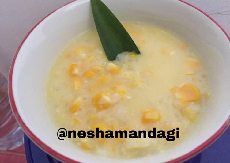 Cara memasak Bubur jagung dan beras pulut sedap