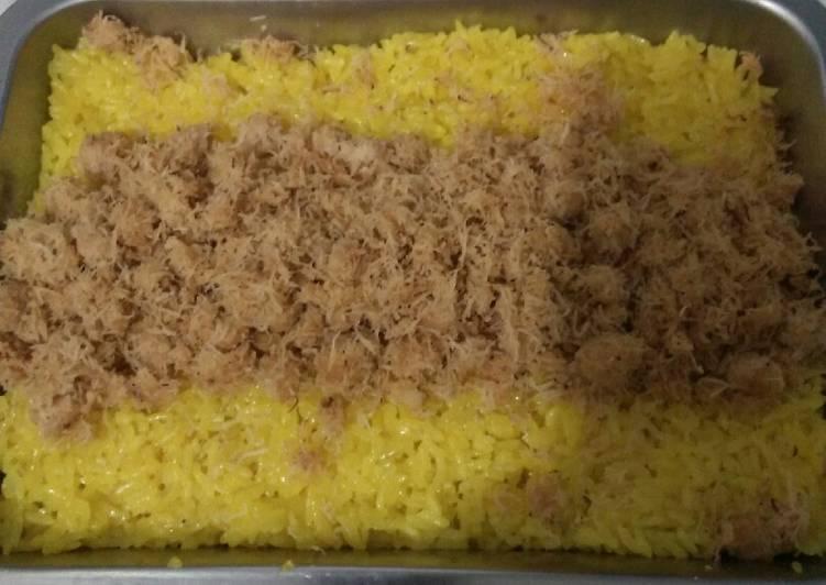 Cara memasak Pulut kuning kelapa unti ala resto