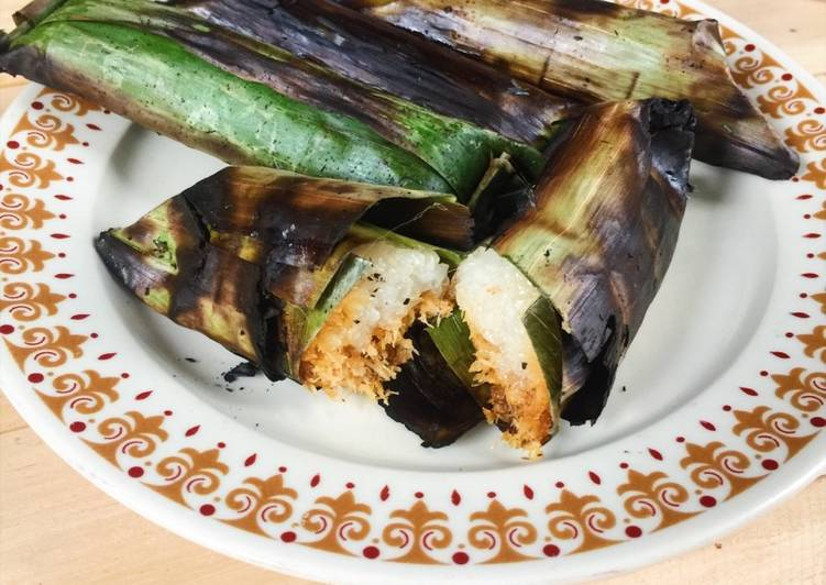 Cara membuat Pulut panggang / ketan bakar lezat