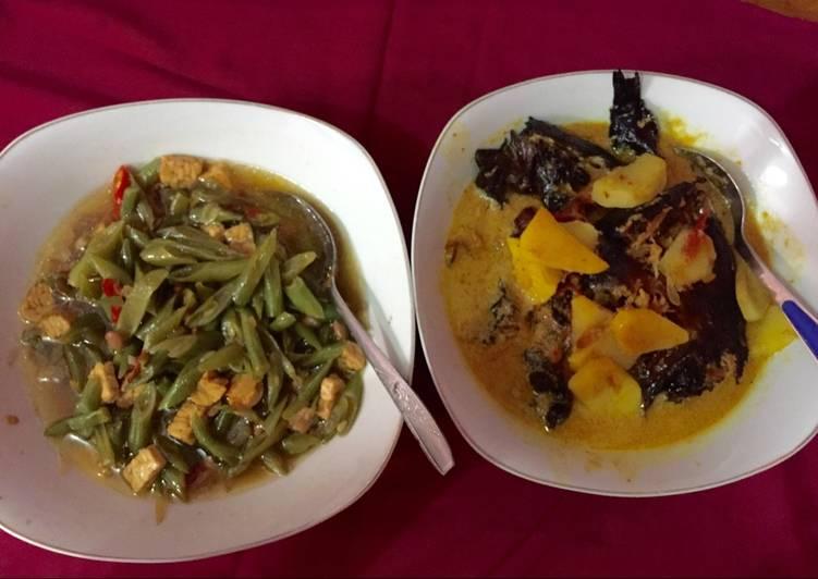 Resep memasak Buncis tumis + gulai ikan sale yang bikin ketagihan