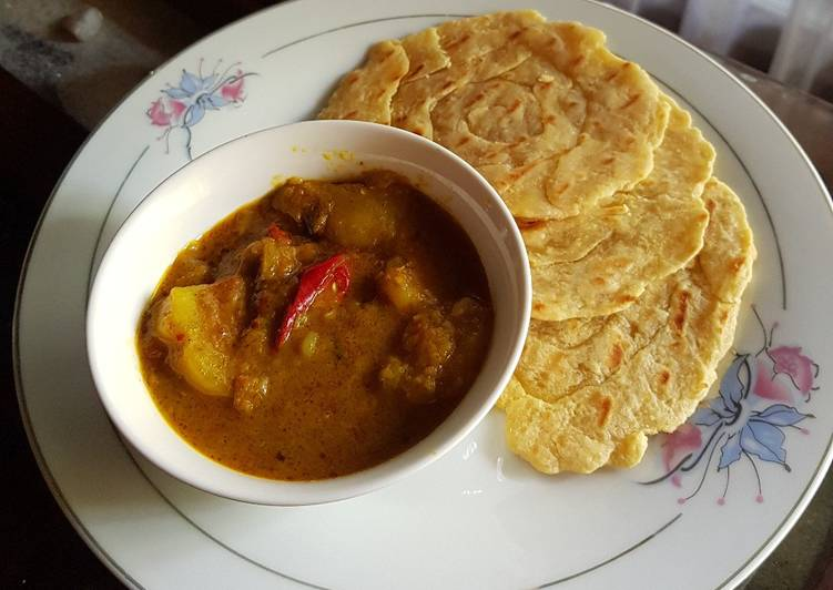 Resep mengolah Roti canai and chicken curry enak