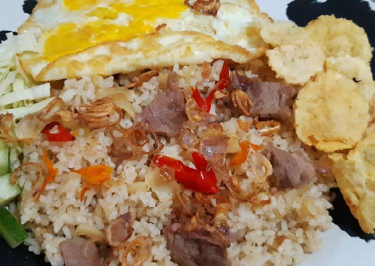 Cara membuat Nasi Goreng Kambing (no kecap manis) yang menggugah selera