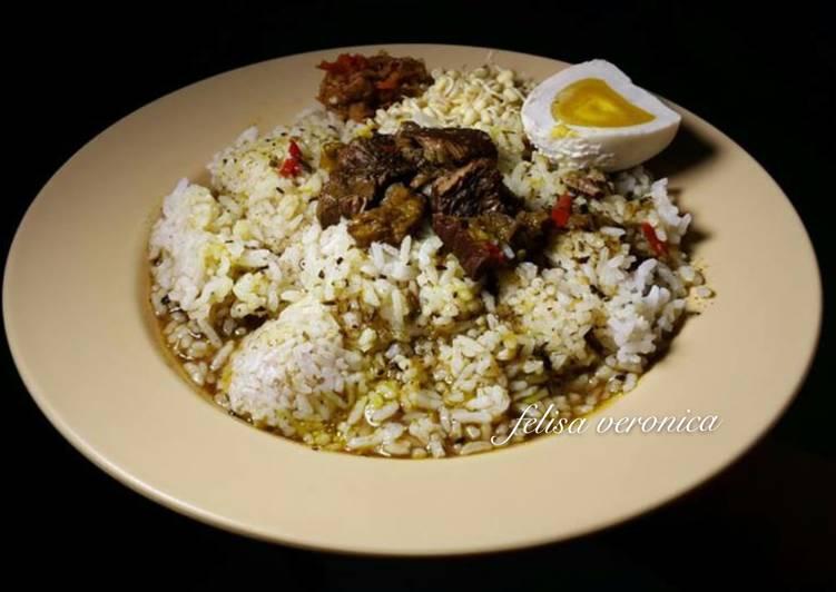 Cara Mudah memasak Nasi rawon daging enak istimewa