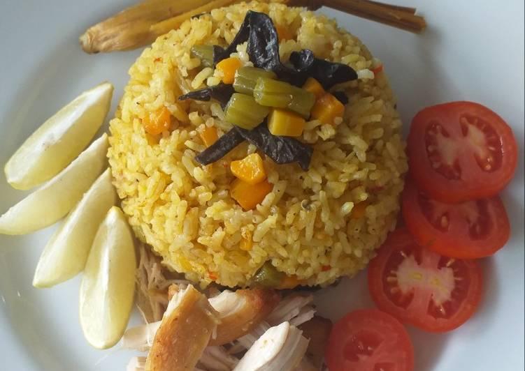 Cara mengolah Nasi Kebuli Ayam & Sayuran ala resto