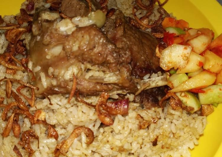 Cara memasak Nasi kebuli kambing majicom ala resto