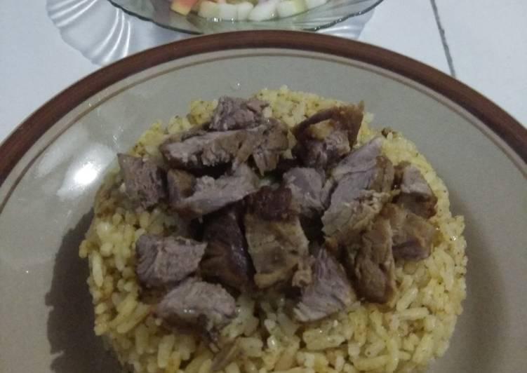 Resep membuat Nasi Kebuli daging kambing Rice Cooker