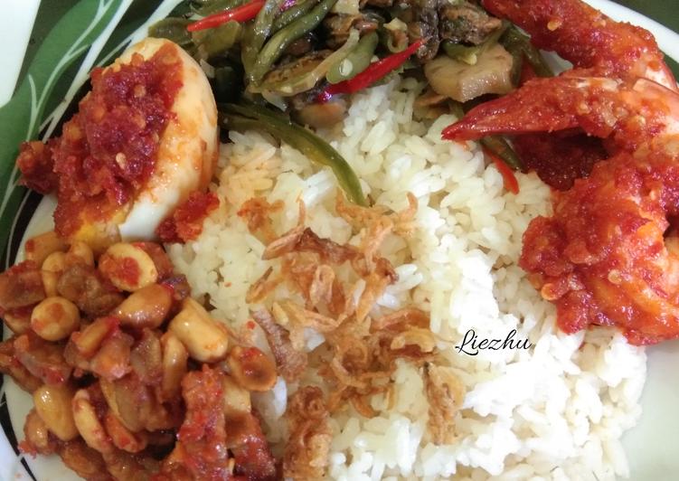 Resep: Nasi lemak /uduk lengkap