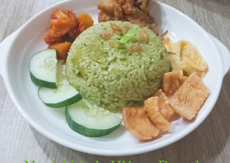 Resep: Nasi Uduk Hijau Pandan dgn rice cooker yang bikin ketagihan