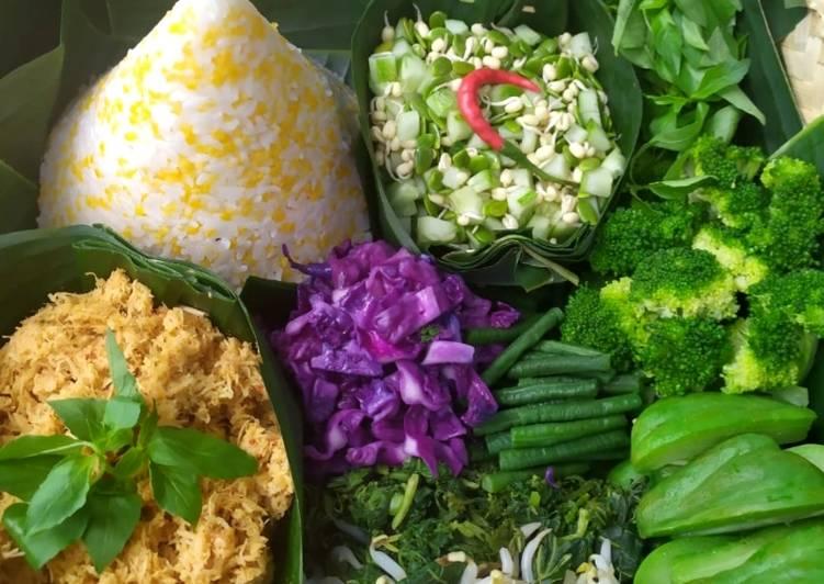Nasi Uduk Jagung dg Urap Sayur Bumbu Kelapa Parut Sehat