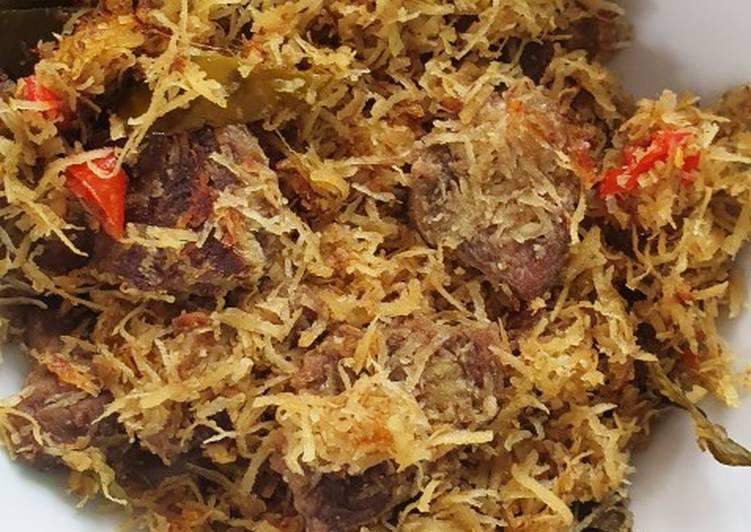 Cara Mudah memasak Dendeng Ragi (serundeng daging sapi) pedas yang menggugah selera