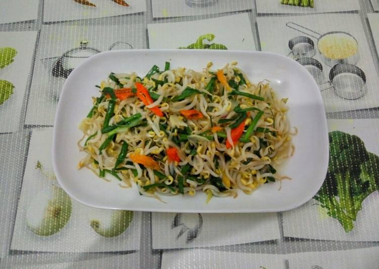 Cara Mudah memasak Toge goreng daun kucay yang menggugah selera