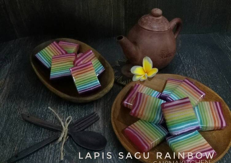 Resep: Kue Pepe / Lapis Sagu Rainbow ala resto
