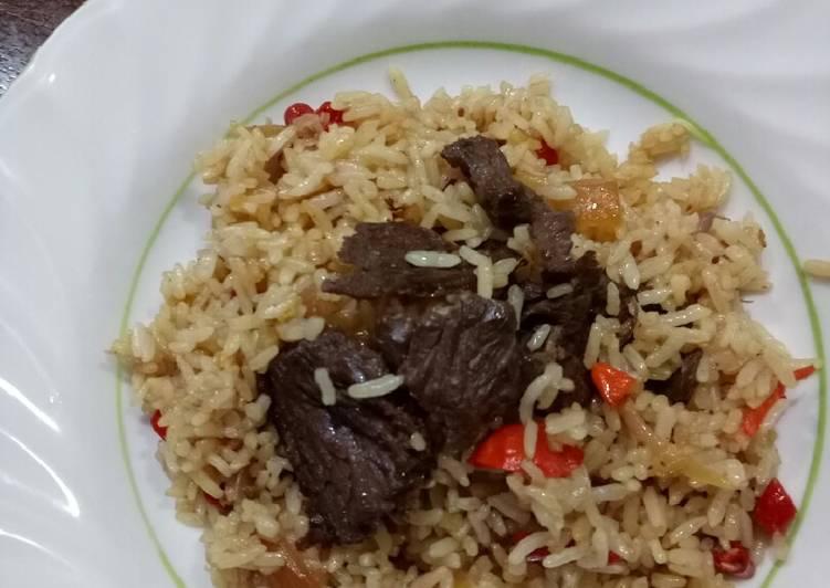 Resep: Nasi goreng beef teriyaki lezat