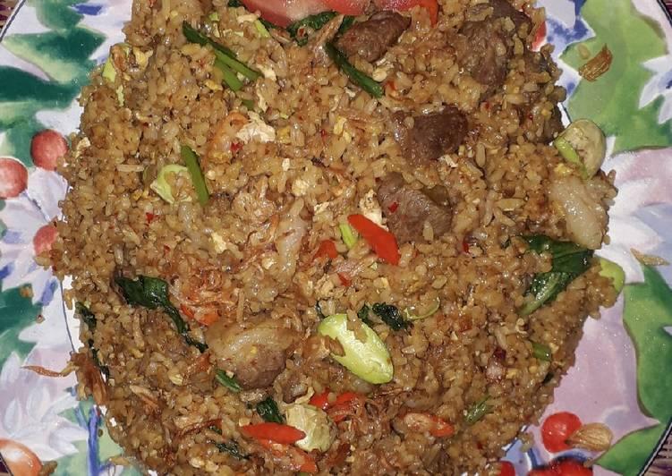 Resep: Nasi goreng pete daging kambing sedap