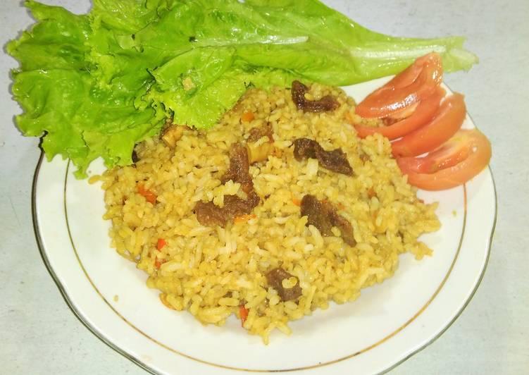 Cara membuat Nasi Goreng Kambing ala resto