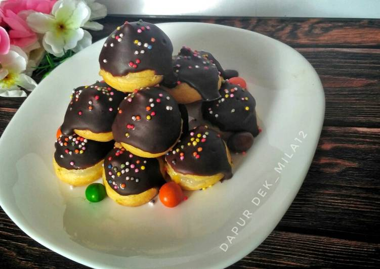 Resep membuat Mini Eclair with vla jackfruit (sus mini dengan vla nangka) istimewa