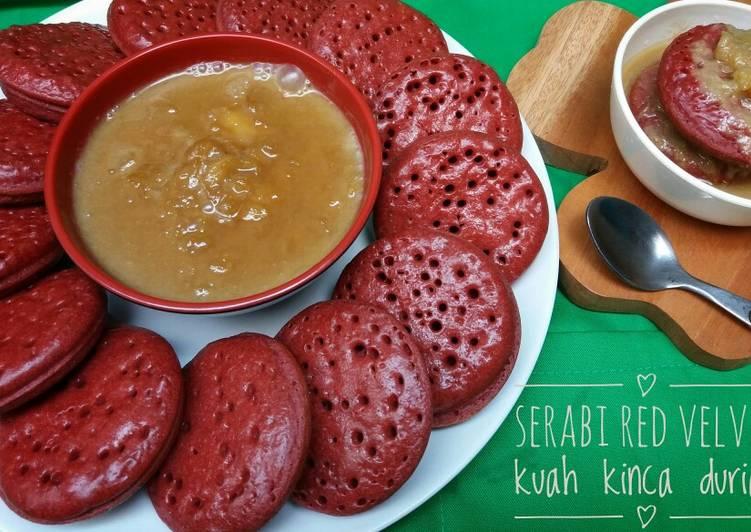 Cara mengolah Serabi red velvet kuah kinca durian yang menggugah selera