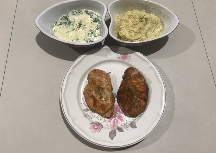 Creamy Spinach with Mashed Potato & Chicken Steak ala rumah Bala Bala
