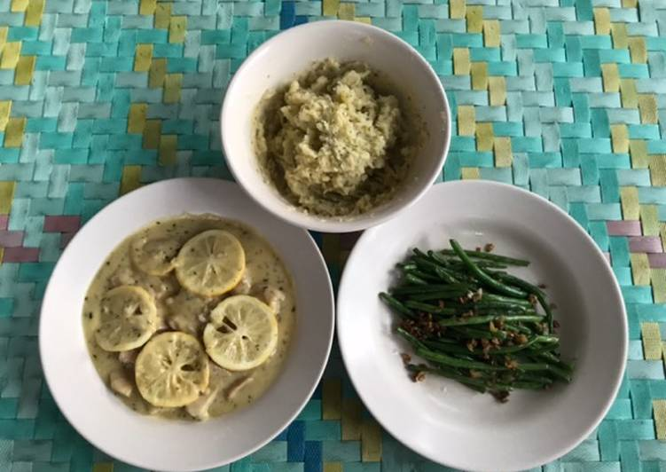 Honey Lemon Butter Chicken with Mashed Potato & Garlic Green Bean ala rumah Bala Bala