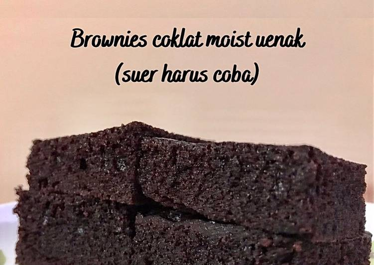 Brownies kukus no mixer. Super moist + lembut + enak (choco lovers wajib coba)
