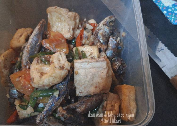 Resep: Ikan asin & tahu cabe ijo enak