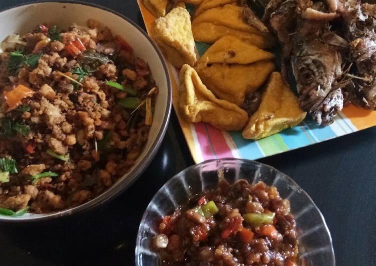 Paket Ikan Kembung, Tahu Goreng, Oncom Pedas, Sambal Tauco