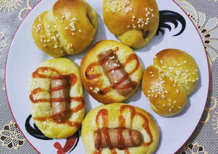 Roti Unyil Isi Sosis (eggless)