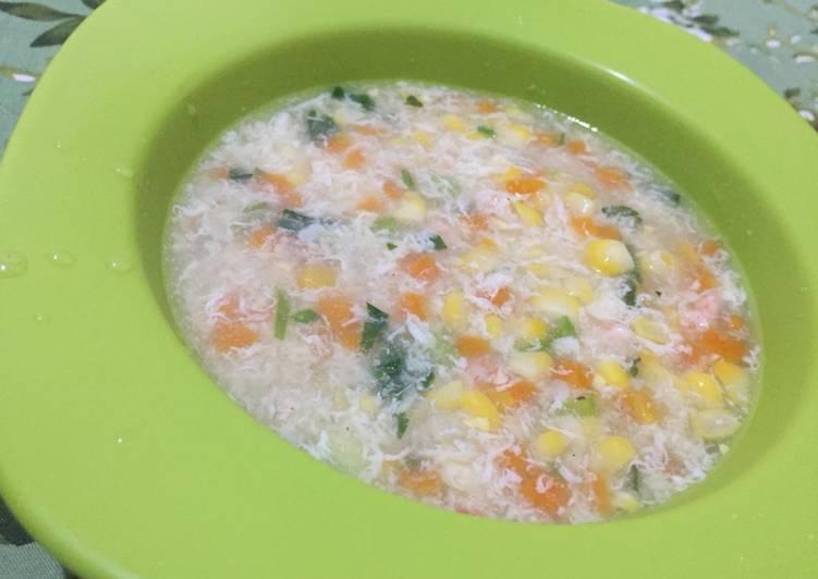 Cara Mudah memasak Sup Jagung (Egg Drop Corn Soup) yang menggugah selera