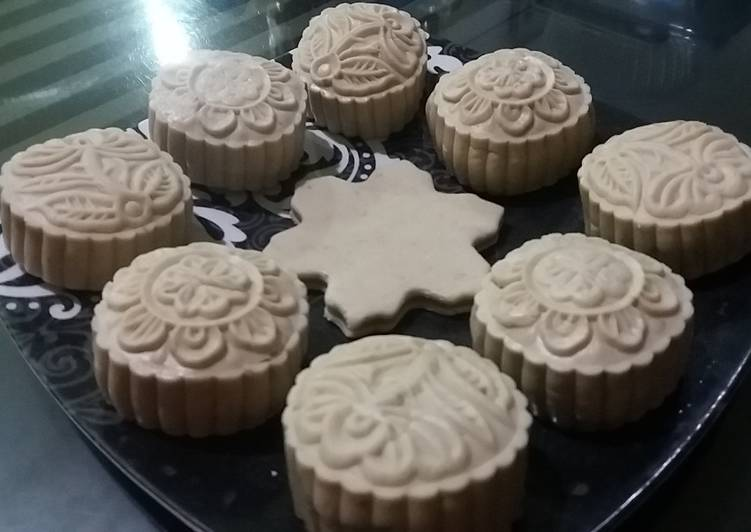 Cara membuat 180. Snowskin mooncake isi mochi bunga telang istimewa