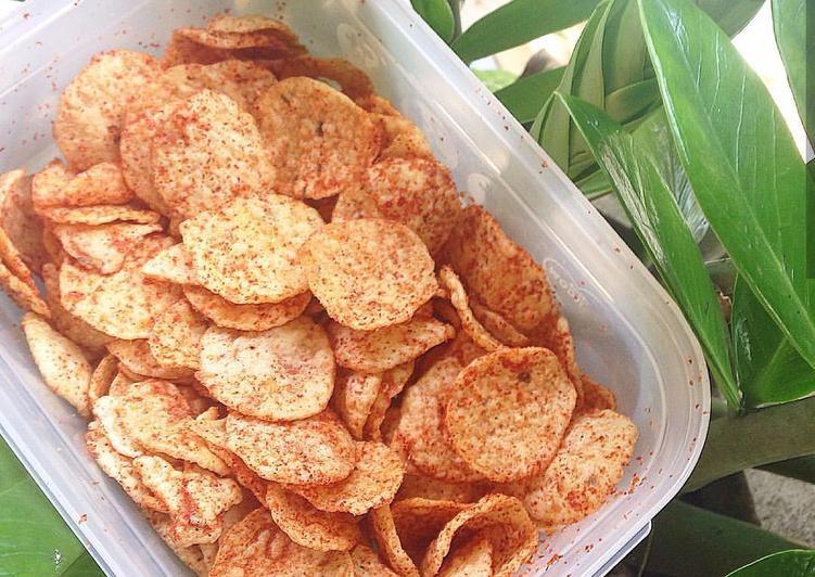 Cara memasak Kripik Singkong Pedas (Opak) ala resto
