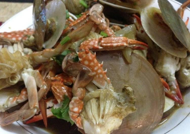 Resep membuat Seafood kerang simping & rajungan ala resto